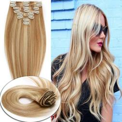 Brazilian 100%Remy Human Hair Clip In Hair Extensions Full H