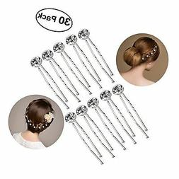 30pcs Bridal Clear Crystal Rhinestone Hair Pins Clips Decora