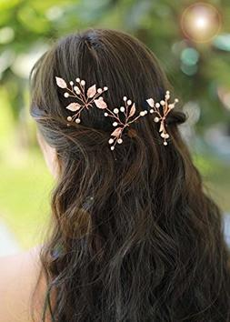 Missgrace Bridal Crystal Leaf Rose Gold Hair Pins Women Crys