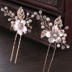 Bridal Hairpin Rhinestone Wedding Hair Clip Alloy Barrette P
