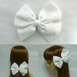 Bridal Wedding Large White Fabric Double Bow Metal Hair Clip