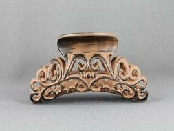 """Brown hair clip 3 5/8"""" long big barrette claw jaw clamp scro"""