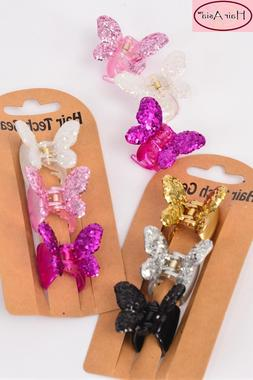 Butterfly Glitter Jaw Clips 3-Pack