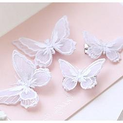 Tinksky Butterfly Hair Clips Lace Hair Bows Pins Hair Access