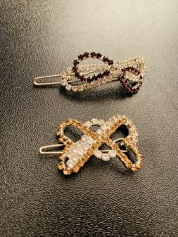 Butterfly Knot Shaped Hair Clips Set Of Two. 1.5 Inch & 2 In