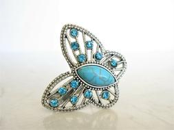 Butterfly turquoise blue stone metal native hair clip barret