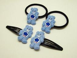 Care Bears jewelry set 2 hair clip & 2 elastic hair rope rin