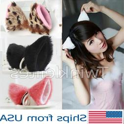 Cat  Ears Fox Clip Costume Cosplay Neko Anime Hair Long Fur