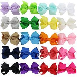 Chiffon 3in Boutique Grosgrain Ribbon Hair Bows Clips For Te