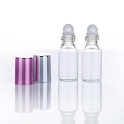 6Pcs Clear Glass Essential Oil Roller Bottles With Glass Rol