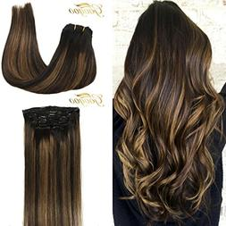 Googoo Clip in Hair extensions Black Ombre to Light Brown #6