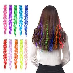 "10pcs Colored Clip in Hair Extensions 22"" Curly Fashion Hair"