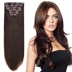 "20"" Clip on Extensions Human Hair Clip ins Real Hair Extensi"