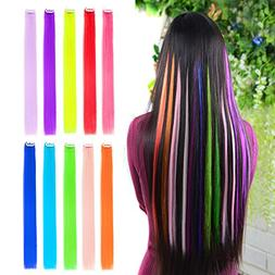 """10pcs Colored Clip in Hair Extensions 22"""" Straight Fashion H"""