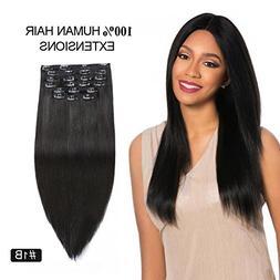 "Natural Color Clip in Hair Extensions, Re4U Hair 14"" 110gram"