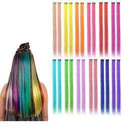 Kyerivs Colored Clip in Hair Extensions 22inch Rainbow Heat-
