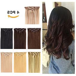 """12"""" Clip in Hair Extensions Remy Human Hair for Women - Silk"""
