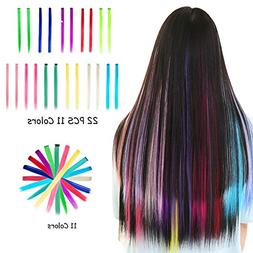 Colored Clip in Hair Extensions 22PCS Straight For Kids Mult