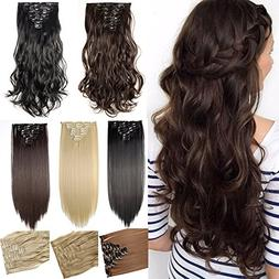 """S-noilite17"""" Long Curly Wavy Medium Brown Clip in on 8 Piece"""