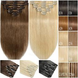 Clip In 100% Remy Human Hair Extensions 8 Pieces Straight Bl