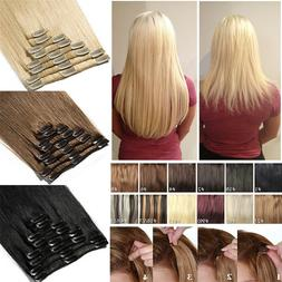 Clip In 100% Remy Human Hair Extensions Thick Highlight Blon