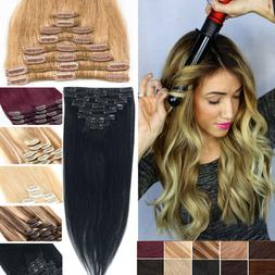 Clip in Human Hair Extensions Full Head 100% Real Remy Hair