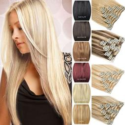 Clip In Remy Human Hair Extensions 16-22Inch 7/8pcs Full Hea