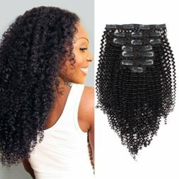 Clip in Remy Real 100% Human Hair Extensions Afro Kinky Curl