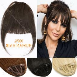 Clip In Top Hairpiece Thick Neat Bangs Front Fringes 100% Hu