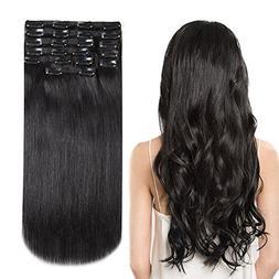 HEESAGA Clip in Real Human Hair Extensions, 18 Inch 140 Gram
