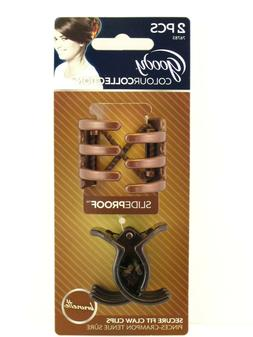 GOODY COLOUR COLLECTION SLIDEPROOF CLAW HAIR CLIPS - BRUNETT