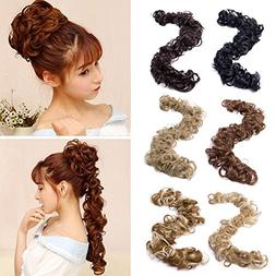 Sexybaby Combs Chignon Messy Curly Hair Bun Extension Clip i