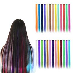 26pcs Colored Hair Extensions Hairpiece Highlight Clip-on Ha