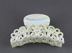 "Cream AB hair clip plastic 3 5/8"" long big barrette claw cla"