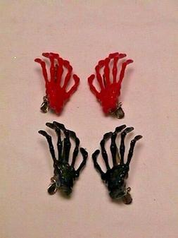 CREEPY SKELETON HANDS Red & Black 2 Pairs HAIR CLIPS hallowe