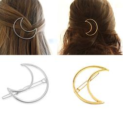 Crescent Moon Goddess Hair Clip Large Gold Silver Boho Bohem