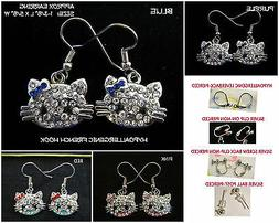 Crystal Cat Earrings OR Necklace Kitty *OPTIONS* Hypoallerge
