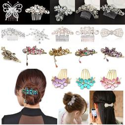 Crystal Hair Clips Hairpin Rhinestone Retro Flower Girls Fas