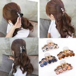 Crystal Hair Plastic Hair Claws Clamp Resin Rhinestone Pearl