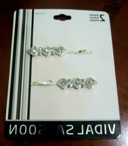 Vidal Sassoon Crystal Jeweled Hair Clips - NEW Pkg of 2
