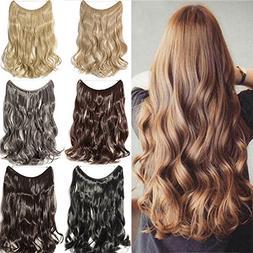 "20"" Curly Secret String Flip On No Clip Hair Extensions Nat"