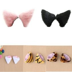 Cute Animal Cat Ears Fluffy Hair Clip Long Faux Fur Costume