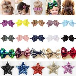 """Cute Bling Sparkly Glitter Sequins Big 5"""" Hair Bows For Girl"""