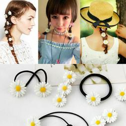 Cute Girl Elastic Hair Ties Band Rope Ponytail Holder Daisy