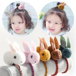 Cute Kids Girls Elastic Rope Hair Ties Flower Pom Ball Head