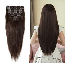 "Dark Brown 100% Remy Human Hair Extensions Clip in #2 20""/20"