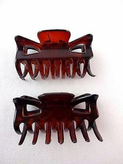 Dark Orange Hair Clips Claws Set Of Two Plastic 2.25 Inch Wi