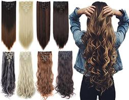 7Pcs 16 Clips 23-24 Inch Thick Curly Straight Full Head Clip