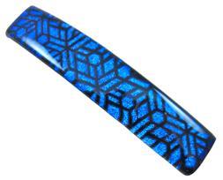 "Dichroic Glass Barrette 3.5"" 9cm Cobalt Blue Black Mosaic Es"