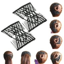 Double Hair Comb Fashion Magic Beads Elasticity Clip Stretch
